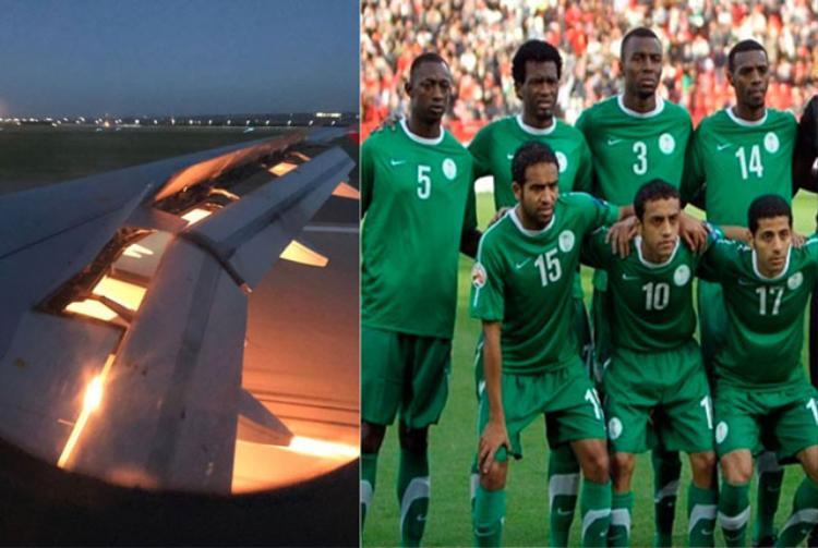 Máy bay chở các tuyển thủ Ả Rập Saudi đã bị bốc cháy trên không.