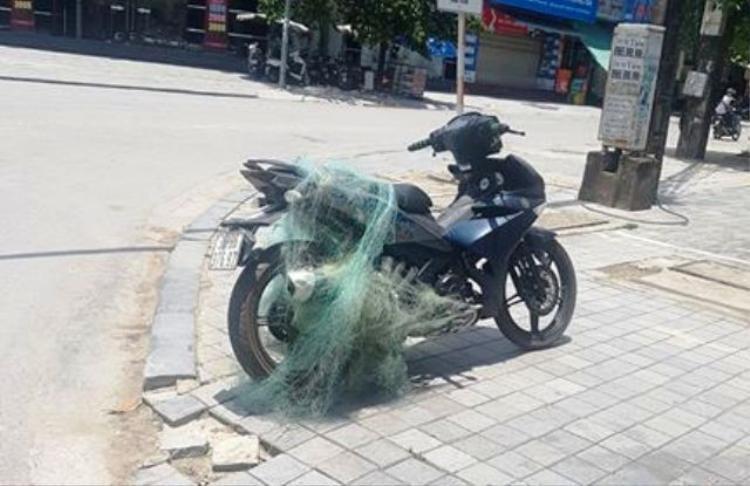 Lực lượng CSGT TP Thanh Hóa đã dùng súng bắn lưới để chặn xe vi phạm.