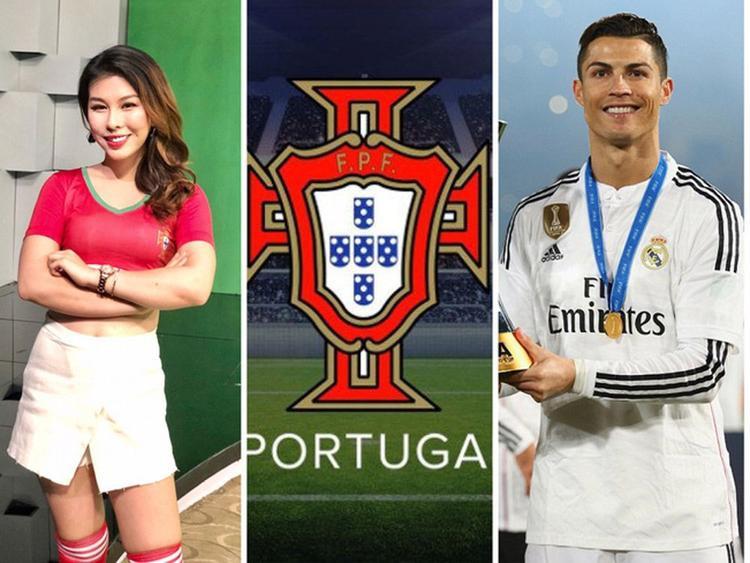Đoàn Lại Vân Anh là gương mặt cổ vũ cho đội tuyển Bồ Đào Nha.