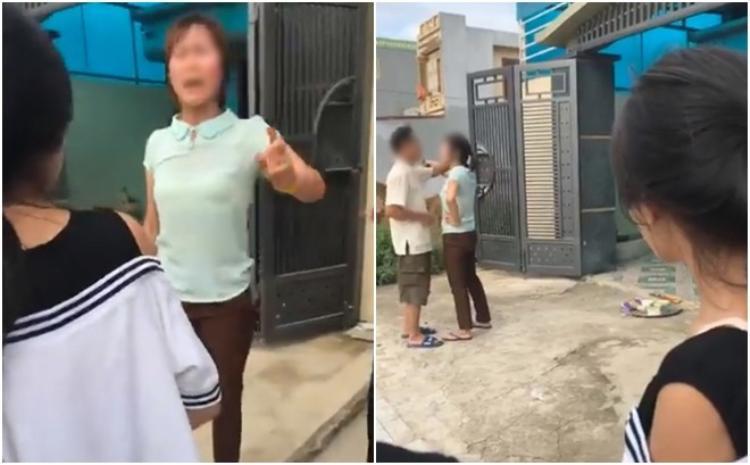Cô con dâu tranh cãi gay gắt với bố chồng trước cửa nhà - Ảnh cắt từ clip.