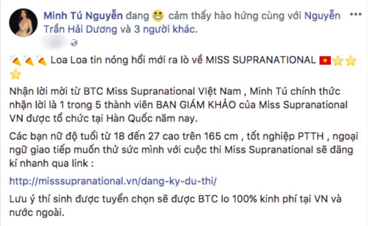 Missosology bất ngờ khẳng định Minh Tú đại diện Việt Nam tham gia Hoa hậu Siêu quốc gia 2018, và sự thật là?