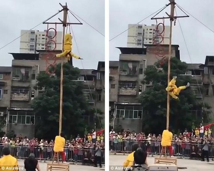 Nghệ sĩ xiếc ngã từ độ cao 10 m khi đang biểu diễn nhào lộn.