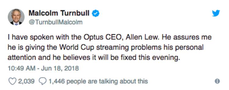 Thủ tướng Úc phải lên tiếng vì người dân phàn nàn không xem được World Cup 2018 qua Internet