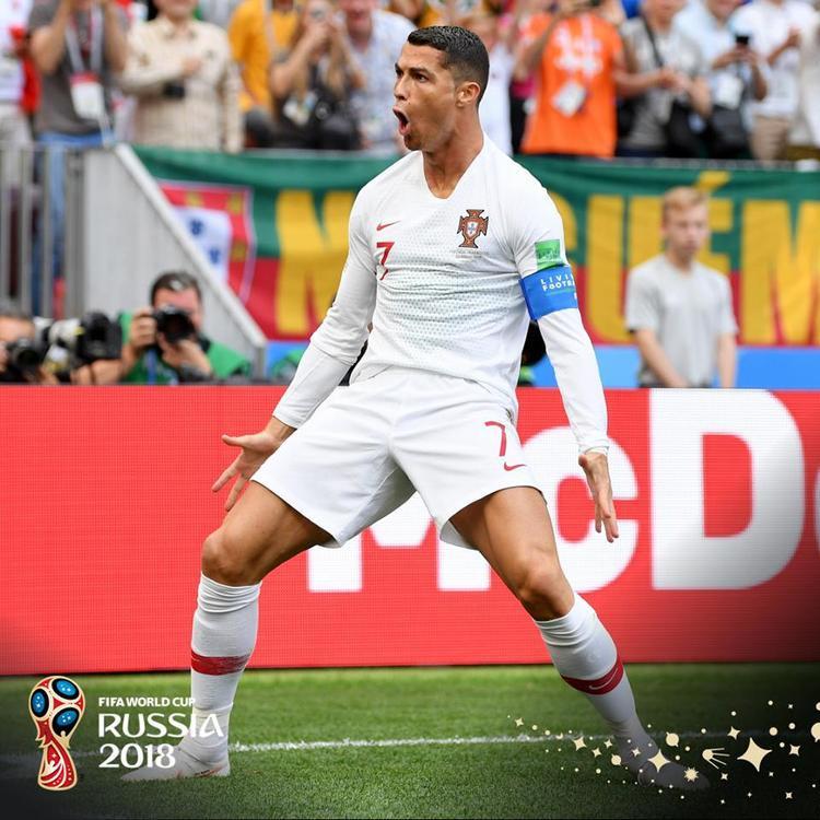 Ronaldo có bàn thắng thứ 4 ở World Cup 2018. Ảnh: FIFA