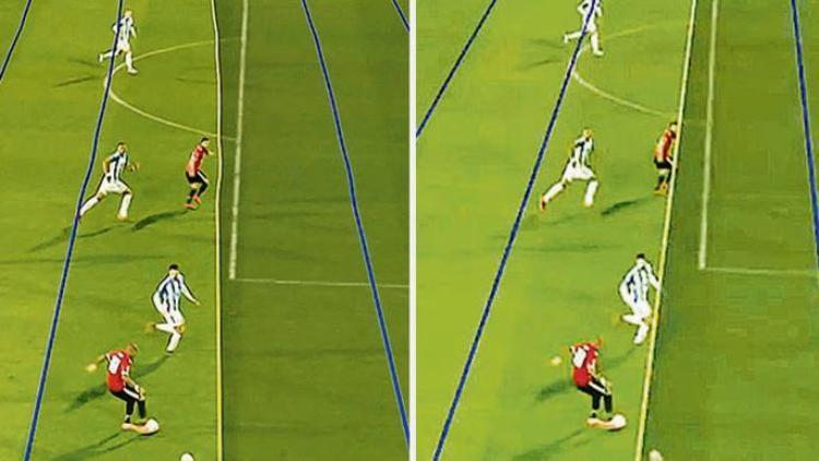 Hình ảnh được cung cấp để phát trên TV với những đường thẳng méo mó (trái) và hình ảnh chính xác các trọng tài V.A.R được cung cấp (phải).