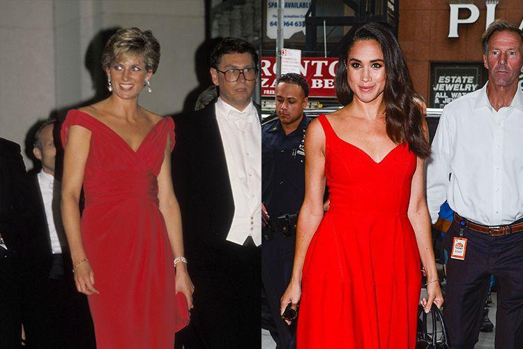 8. Hai chiếc áo choàng đỏ được Công nương Meghan diện trong buổi ra mắt phim Today Today 2016 khá giống với của mẹ chồng.