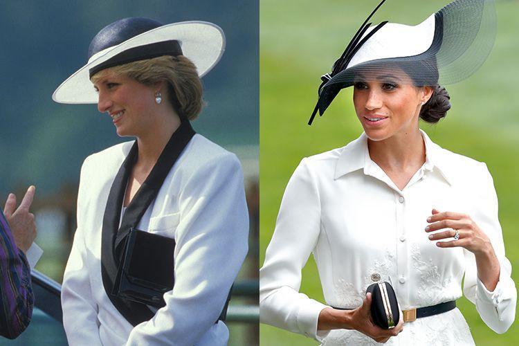 1. Trong cuộc đua ngựa nổi tiếng Royal Ascot Attire 2018, Công nương Meghan chọn bộ quần áo giống hệt mẹ chồng quá cố từng diện cũng trong sự kiện này vào năm 1985.