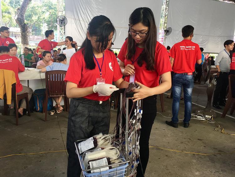 Hai bạn sinh viên tình nguyện đang sắp xếp lại các bịch máu cho ngăn nắp