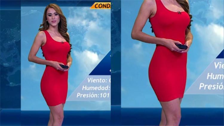 """MC thời tiết Mexico Yanet Garcia của kênh truyền hình Televisa Monterrey được mệnh danh là """"MC sexy nhất thế giới"""" nhờ thân hình chữ S chuẩn mực, đặc biệt là vòng 3 căng đầy sức sống. Vì thế cô hay diện những thiết kế ôm sát để lộ đường cong """"tức mắt"""" ngay trên sóng truyền hình."""
