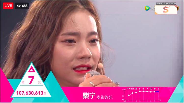 Về thứ 7 là Tử Ninh với số lượt bình chọn nhỉnh hơn 1 triệu phiếu so với người xếp sau.
