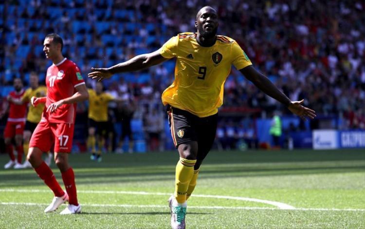 Lukaku ghi 2 bàn trong trận đấu gặp Tunisia. Ảnh: Fifa.com.