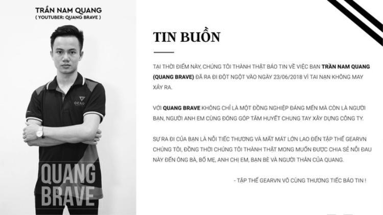 Thông tin về sự ra đi đột ngột của game thủ Quang Brave được chia sẻ trên mạng. Ảnh chụp màn hình.