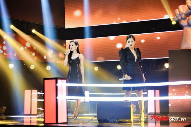 Bùi Đình Hoài Sa và Huỳnh Thanh Thảo trên sân khấu vòng Đối đầu.