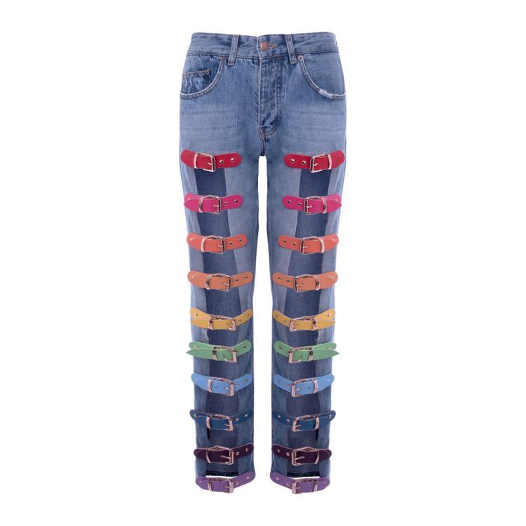 """Cận cảnh chiếc quần """"BUCKLE JEANS RAINBOW"""" của hãng Marina Hoermanseder có giá 499,00$"""