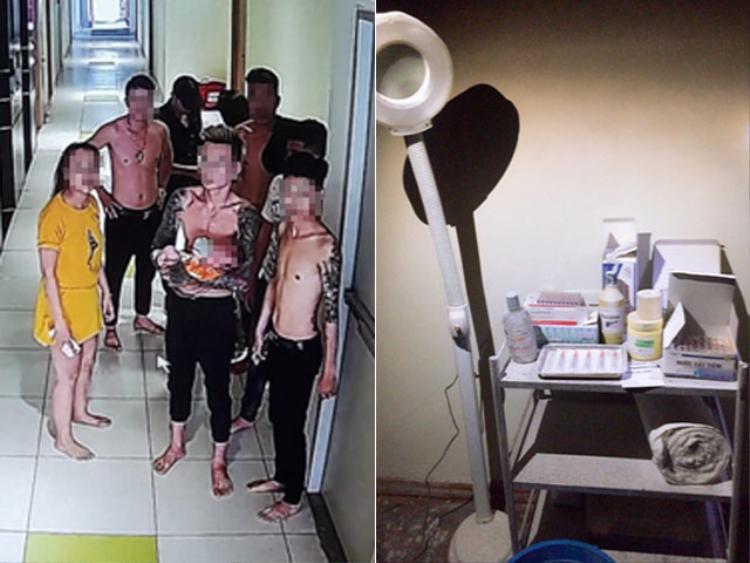 Qua camera an ninh, thời điểm căn hộ phát hỏa có 7 nam, 2 nữ chạy ra ngoài. Ảnh: Dân Việt.