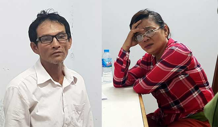 Vợ chồng nghi phạm Dũng - Oanh tại cơ quan công an. Ảnh: CAĐN