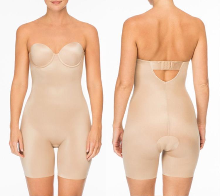 Ngoài kiểu khoét hông cao, shapewear còn có dạng dài ngang đùi, giúp các nàng giấu đi phần bắp chân ngấn mỡ.