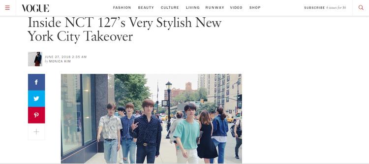 Trang chủ của tạp chí Vogue đăng tin khen ngợi gu thời trang của NCT127.