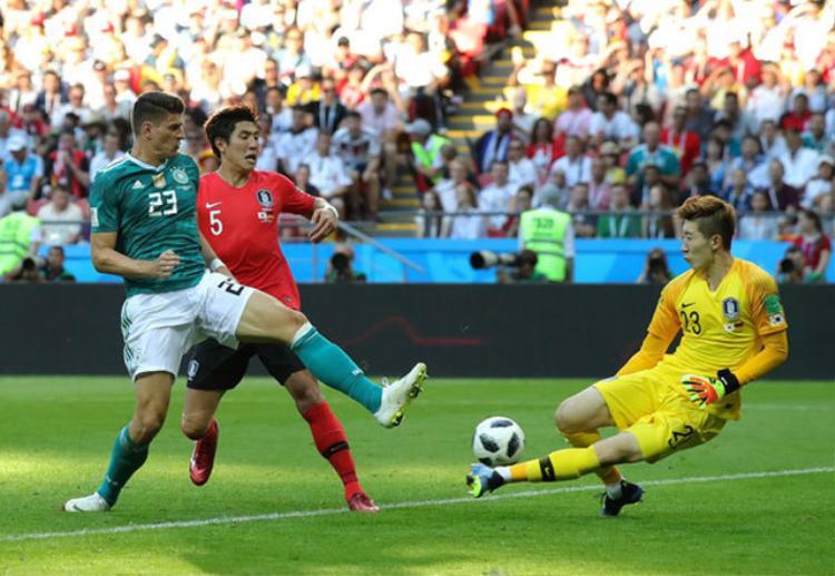 Thủ môn Cho Hyun-Woo (áo vàng) liên tục cứu thua cho Hàn Quốc. Ảnh: Getty.
