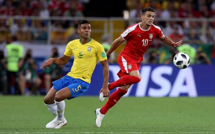 Brazil chính thức giành tấm vé đi tiếp với tư cách là đội dẫn đầu bảng E. Ảnh: Fifa.com.