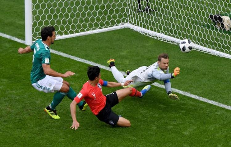 Thủ môn ĐT Đức từng có pha cản phá trước mũi giày của tiền đạo Hàn Quốc. Ảnh: FIFA