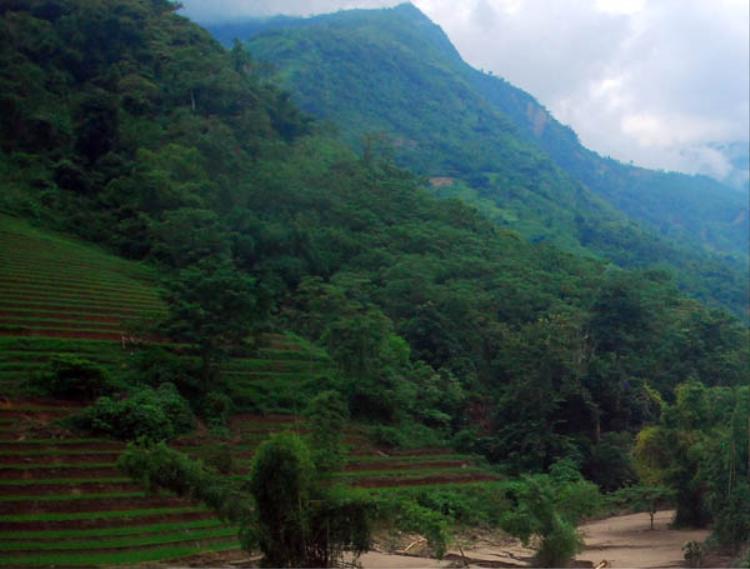 Ngọn núi nơi chị Mẩy trượt chân té xuống khe suối. Ảnh: VTC.