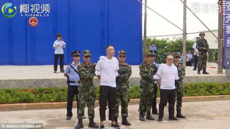 Hai tội phạm bị tuyên án tử hình. Ảnh: Weibo