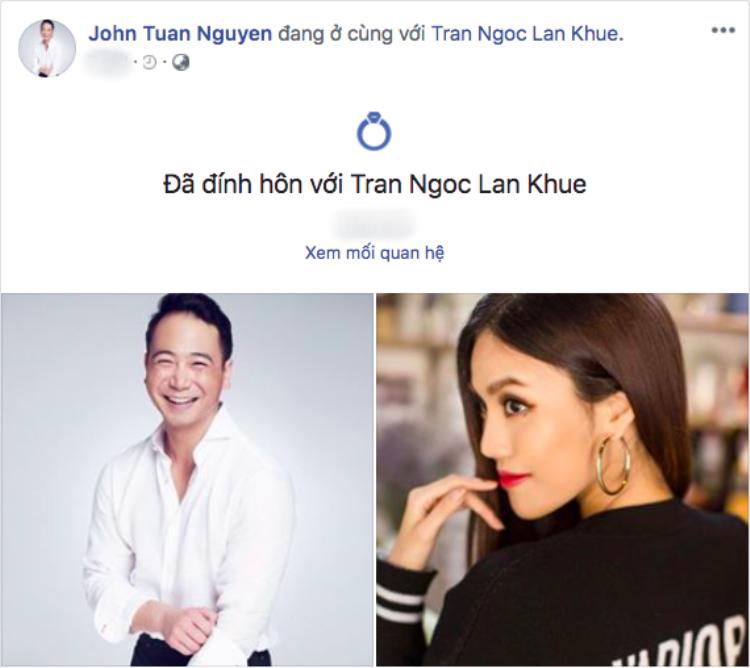 """John Tuấn Nguyễn cũng thay đổi mối quan hệ thành """"Đã đính hôn"""" trên trang cá nhân."""