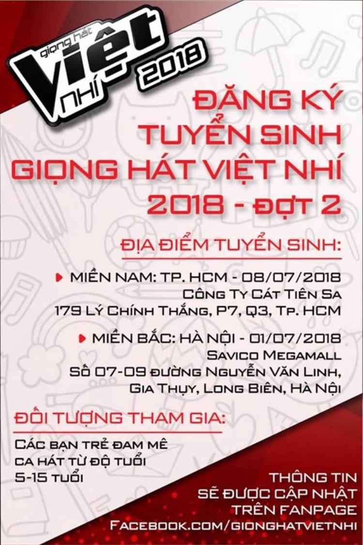 Giọng hát Việt nhí 2018 tuyển sinh trực tiếp đợt cuối: Đừng bỏ lỡ!