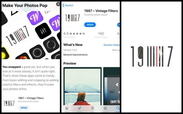1967 - Vintage Filters là ứng dụng hoàn toàn miễn phí có trên nền tảngiOS. Ứng dụng sẽ cung cấp cho bạn những công cụchỉnh ảnh cực kỳ chuyên nghiệp nhưng lại vô cùng đơn giản.