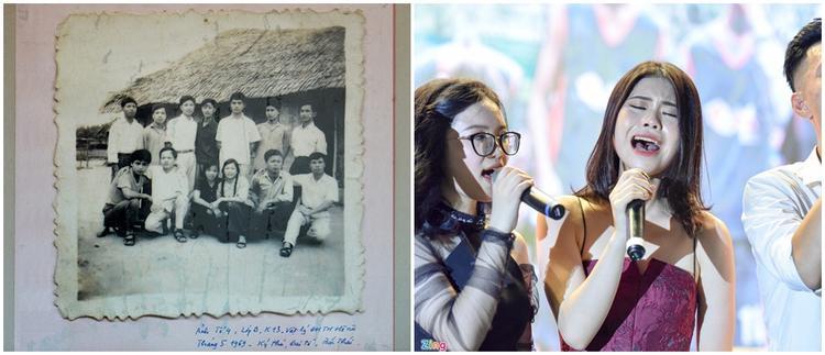 Lớp học của thầy Khang ngày ấy và thế hệ Merie Curie bây giờ trước ngày chia tay mái trường. Ảnh: Quỳnh Trang, Việt Hùng.