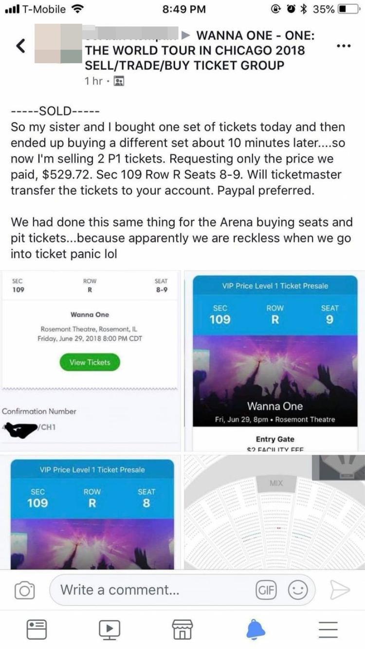 Bài đăng bán lại vé với giá khá cao vẫn sold out ngay tức khắc.