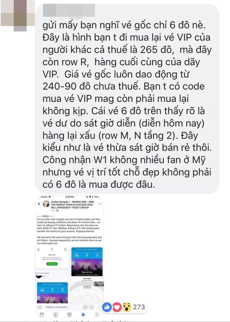 Một bạn fan đã phân trần và giải thích về mức giá 6 USD cho vé concert tại Chicago.