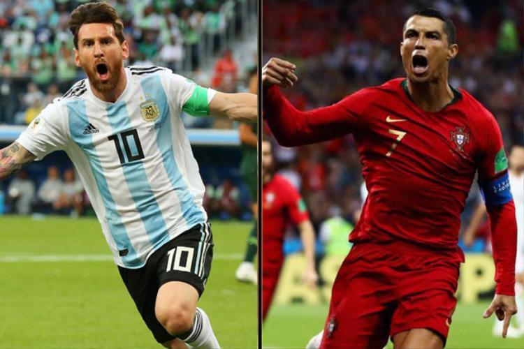 Messi (trái) và Ronaldo chưa ghi bàn ở vòng loại trực tiếp World Cup. Ảnh: Getty.