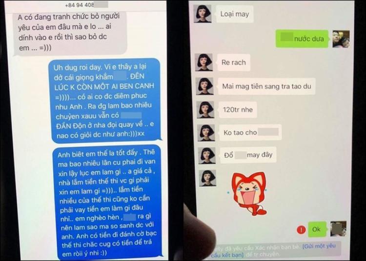 """Tin nhắn cho thấy khi gia đình T. phản ứng, yêu cầu chấm dứt quan hệ bất chính, cô nàng """"tiểu tam"""" lại tỏ ra ghê gớm."""