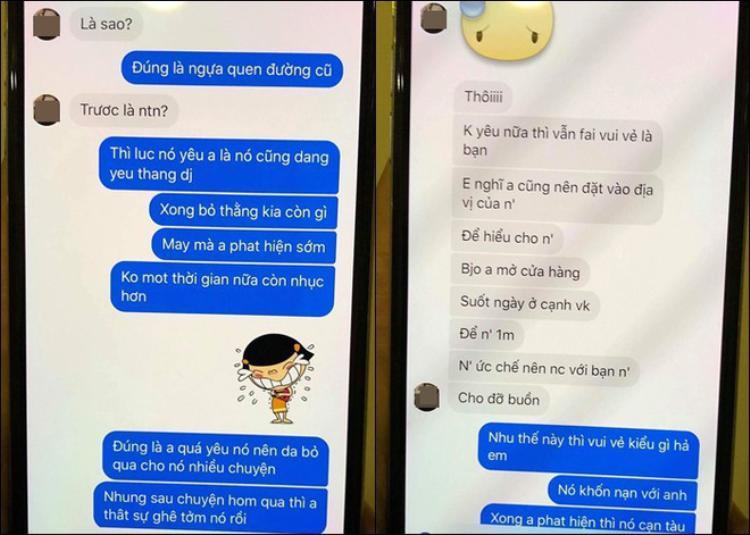Tin nhắn của chồng T. với bạn bè, cho thấy anh ta biết nhân tình chơi bời cặp kè 3 người cùng lúc nhưng vẫn mù quáng yêu, nói quyết tâm bỏ nhưng rồi lại tiếp tục quan hệ.