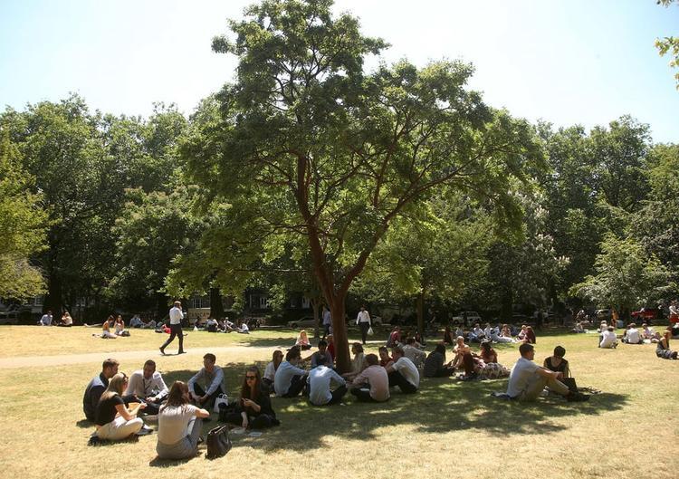 Tại công viên St James's Park, London, mọi người tìm những bóng cây để nghỉ ngơi khi cái nắng quá gay gắt. Ảnh: Yui Mok
