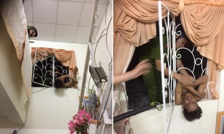 Công an giải cứu đối tượng chui cửa sổ trộm cắp bị mắc kẹt (Ảnh: Công an TP.HCM)