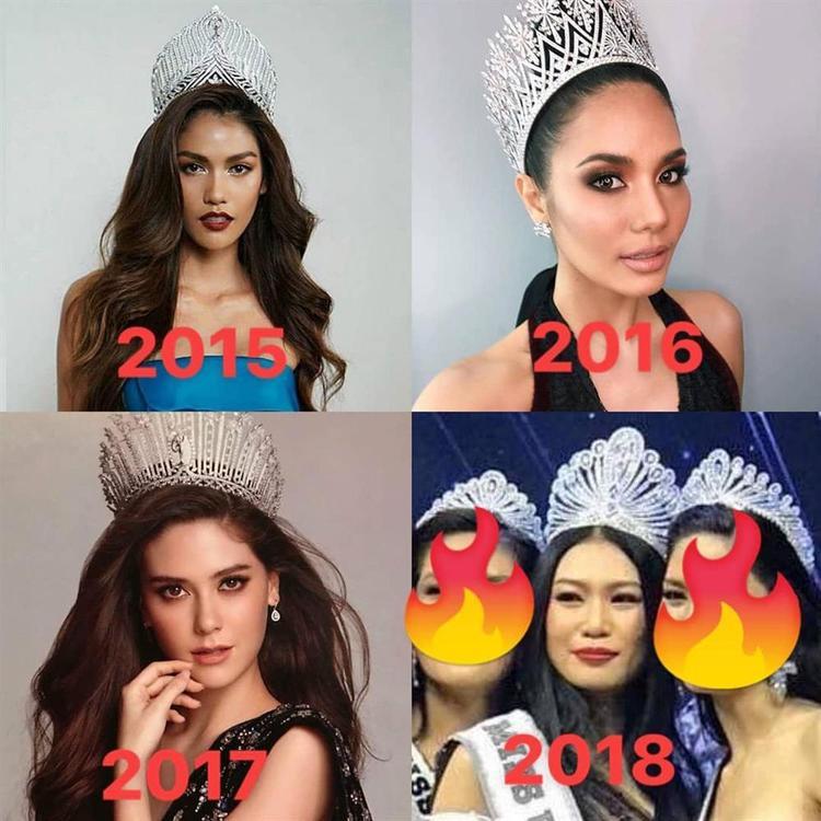 Nhan sắc hoa hậu qua 4 mùa Miss Universe Thailand.
