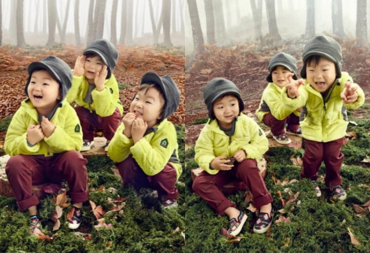 """3 cậu nhóc sinh ba Dae Han, Minguk và Manse của nam diễn viên """"Truyền thuyết Jumong"""" Song Il Kook."""