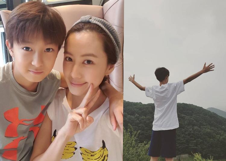 """""""Nam thần nhí"""" nhà vợ chồng diễn viên Yoon Joon Sang và Hong Eun Hee."""