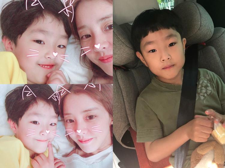 """Park Eun Hye cùng con trai. Cô được khán giả Việt Nam biết tới qua bộ phim """"Nàng Dae Jang Geum"""", """"Lee San - Triều đại Choseon""""."""