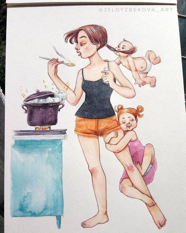 Việc nấu ăn với lũ trẻ đang ríu rít dưới chân như thế này đã trở nên quá quen thuộc với mẹ bỉm sữa.