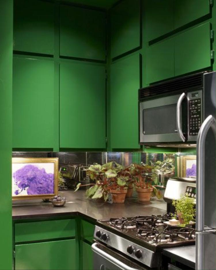 Vẫn là màu xanh là nhưng căn bếp này có độ sáng hơn cùng với vài chậu cây nhỏ trên bàn bếp.