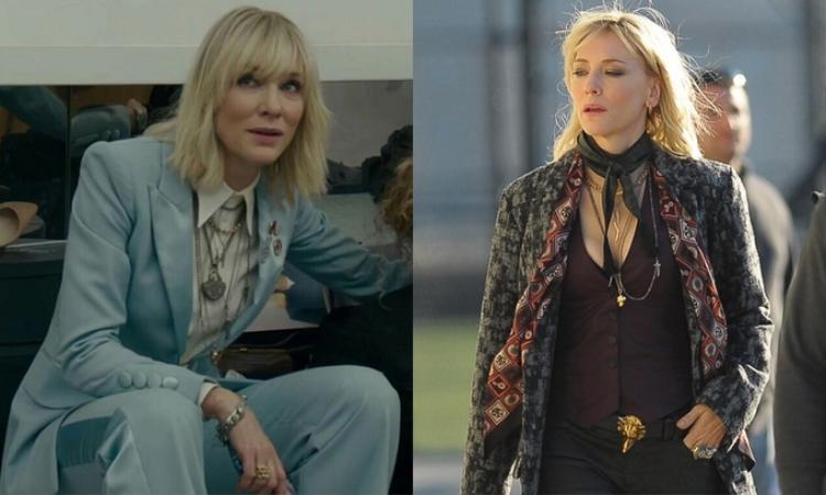 Cate Blanchett vào vai Lou - nhân vật sở hữu phong cách rock n roll gây ấn tượng nhất bộ phim. Nhân vật thường chọn suit để thể hiện nữ quyền, trong đó có bộ vest nhung do Burberry thiết kế.