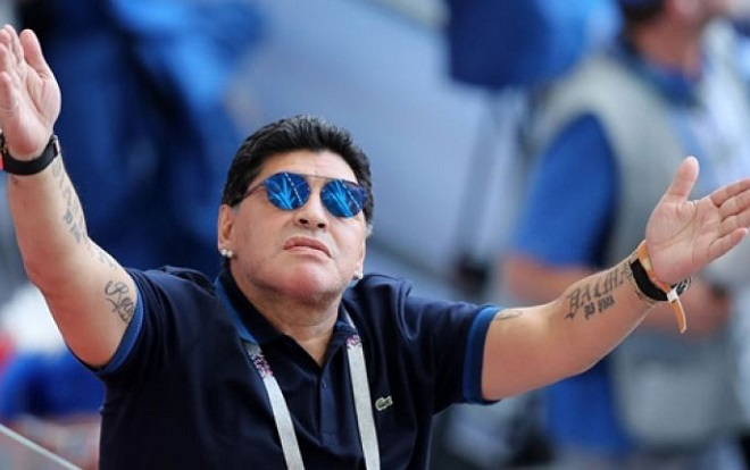 Maradona trong một trận đấu tại VCK World Cup 2018.