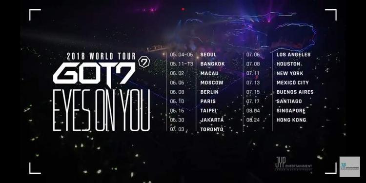 World Tour của GOT7 trong năm 2018 có tên là EYES ON YOU và nó đã đi hơn một nửa chặng đường.