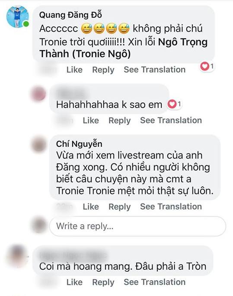 """Tronie bất ngờ bị """"vạ lây"""" vì trùng tên với người yêu cũ của Liêu Hà Trinh."""