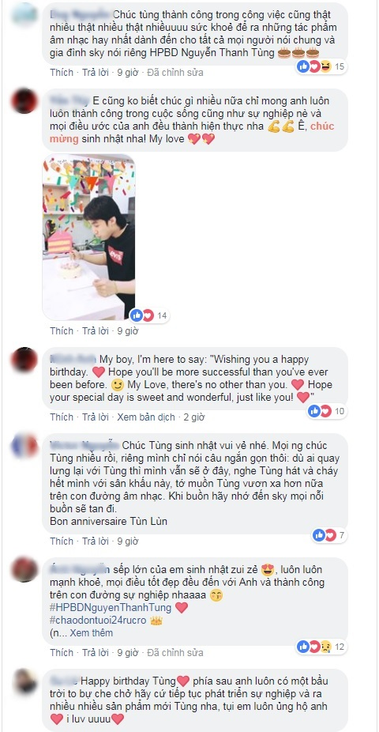 … hay là trên fanpage của Sơn Tùng, tất cả Sky đều tập trung gửi lời chúc mừng sinh nhật anh.