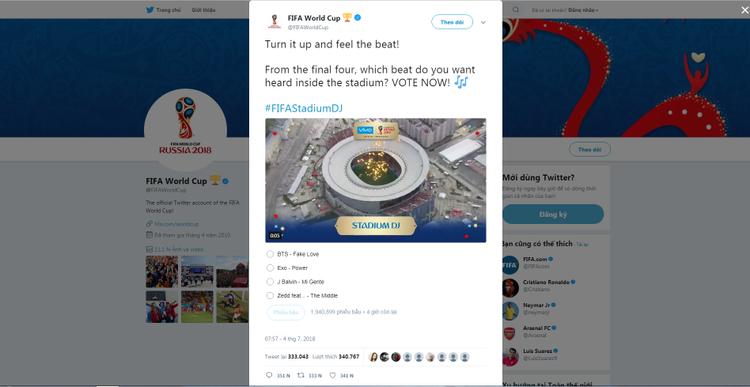 Giao diện tài khoản Twitter của sự kiện bóng đá lớn nhất hành tinh.